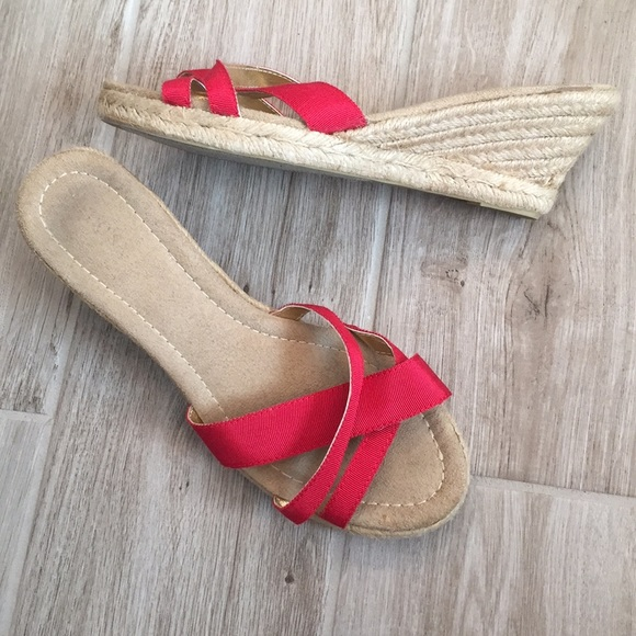 new styles new product attractive price Merona Red Wedge Espadrille Sandals Size 8